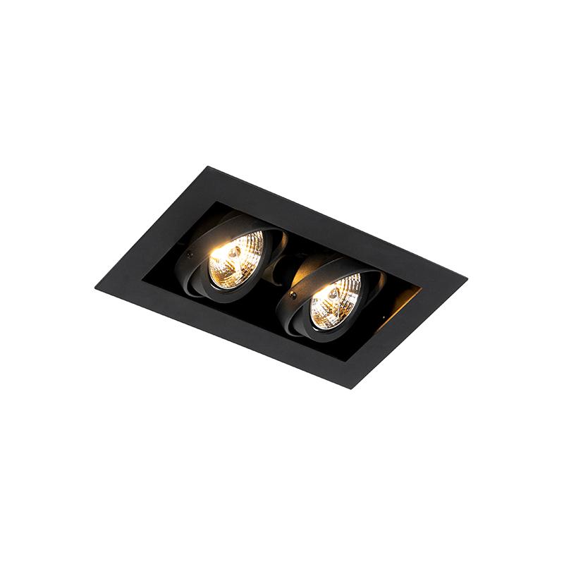 Moderne inbouwspot zwart 2-lichts verstelbaar - Oneon 70