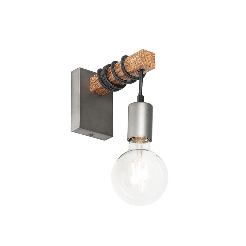 Industriële wandlamp staal met hout - Gallow