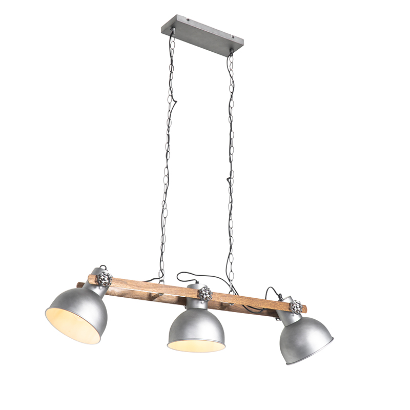 Industriële hanglamp staal met hout 3-lichts - Mangoes