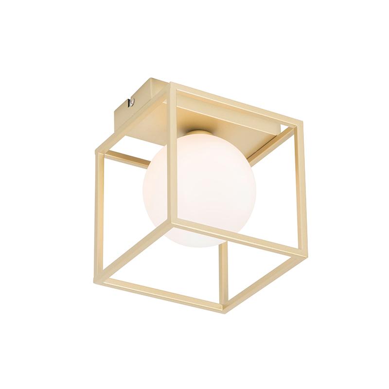 Design plafondlamp goud met wit - Aniek