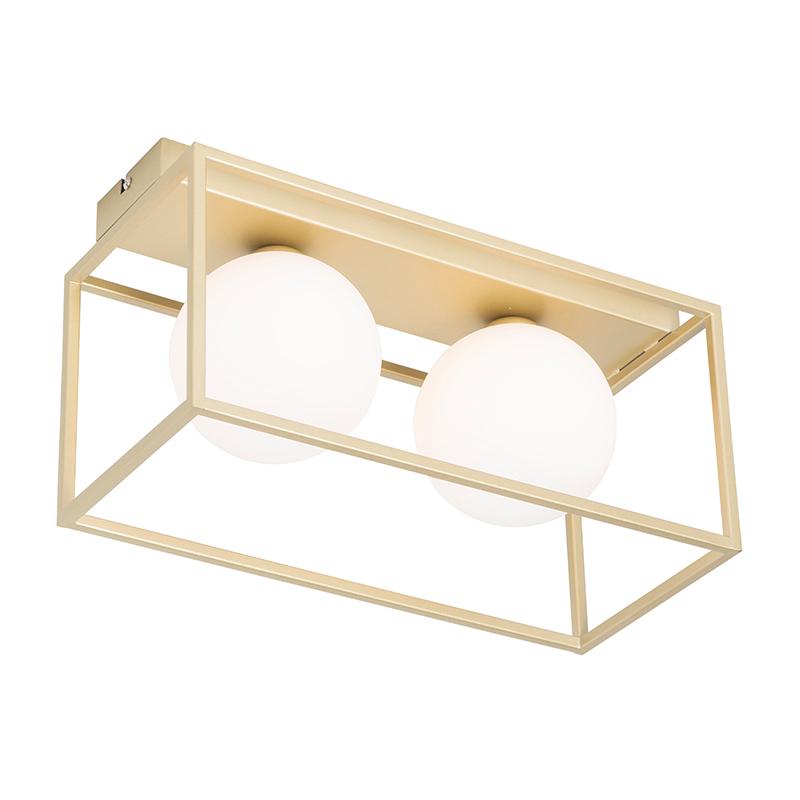 Design plafondlamp goud met wit 2-lichts - Aniek