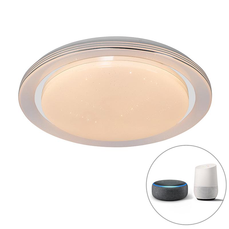Smart plafondlamp wit 48 cm incl. LED en dimmer RGB - Jochem