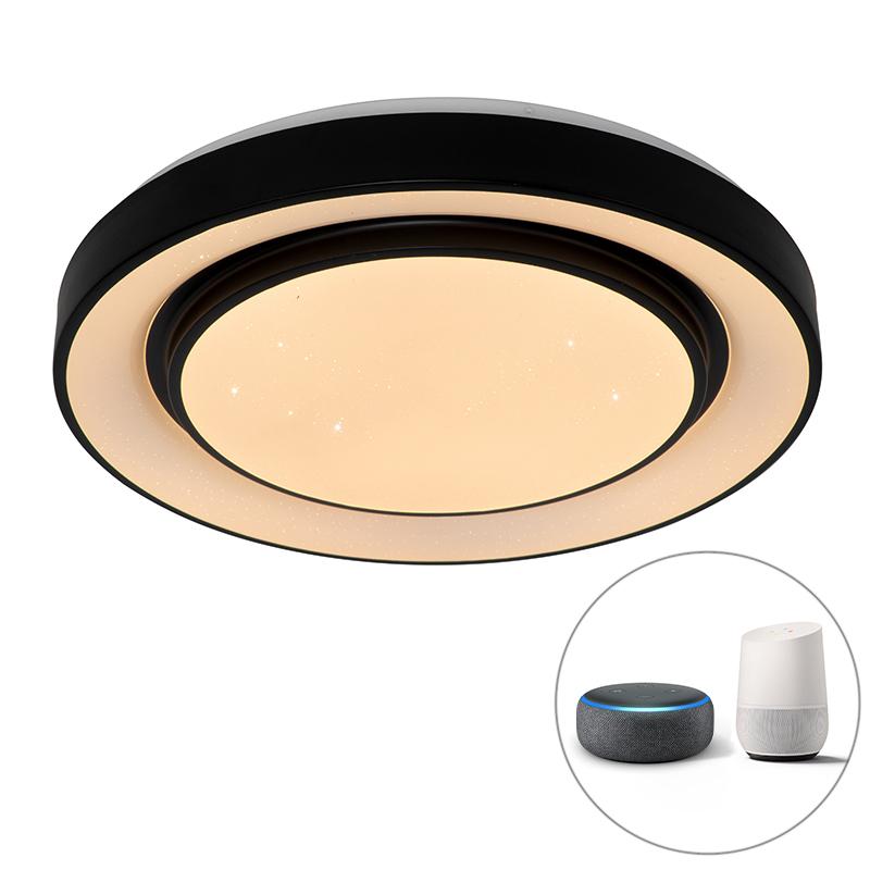 Smart moderne plafondlamp zwart 48 cm incl. LED en RGB - Jochie