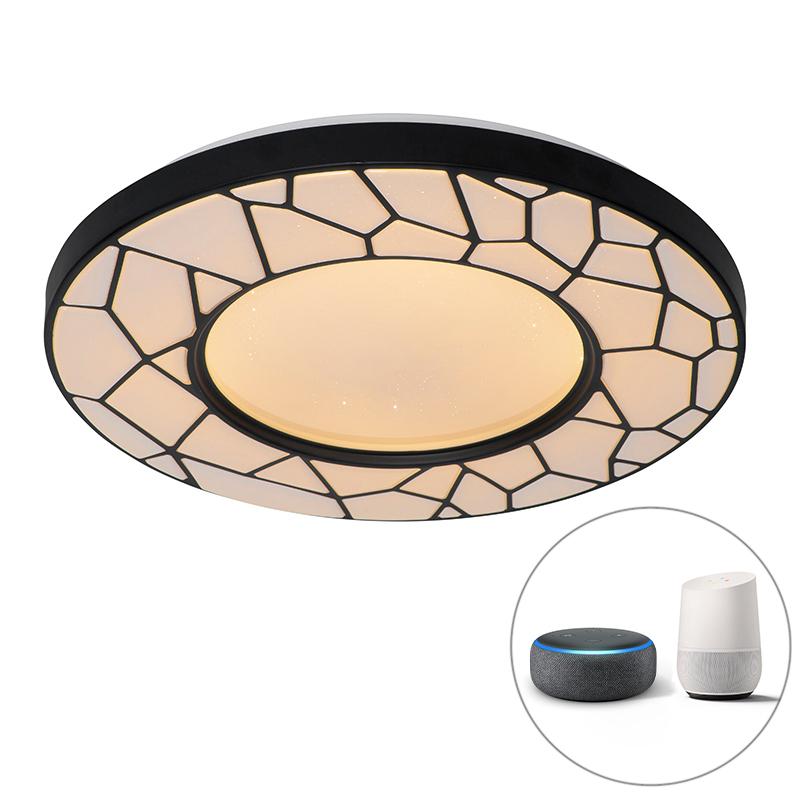 Smart plafondlamp zwart 49 cm incl. LED en dimmer - Luka