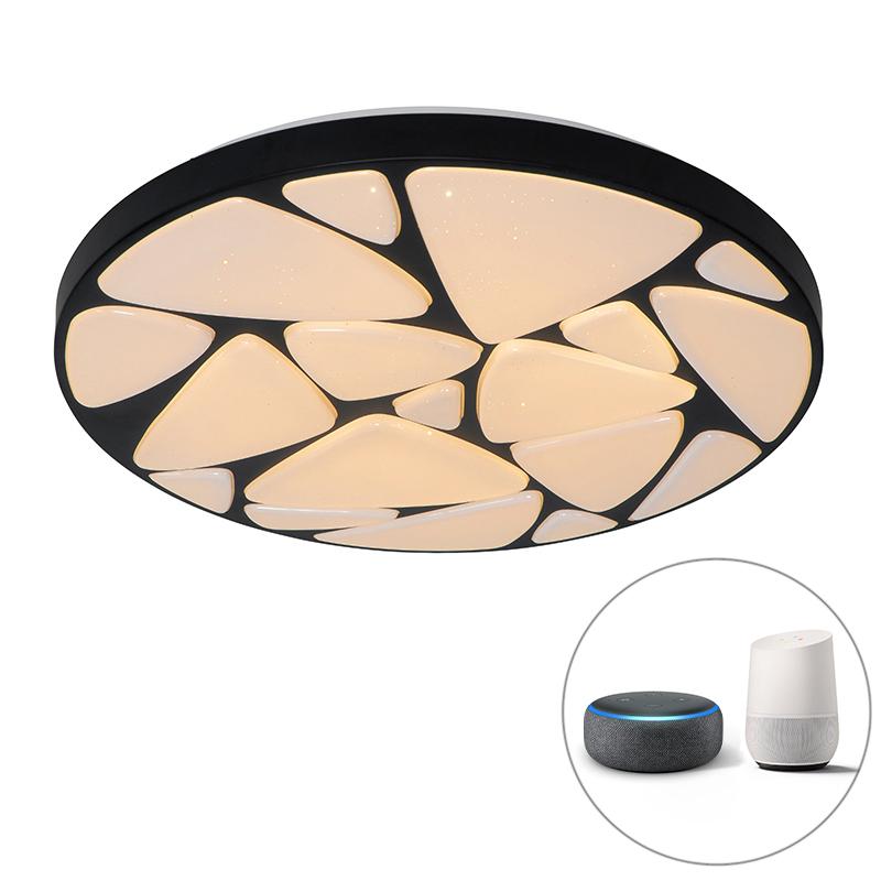 Moderne smart plafondlamp zwart 49 cm incl. LED - Marian