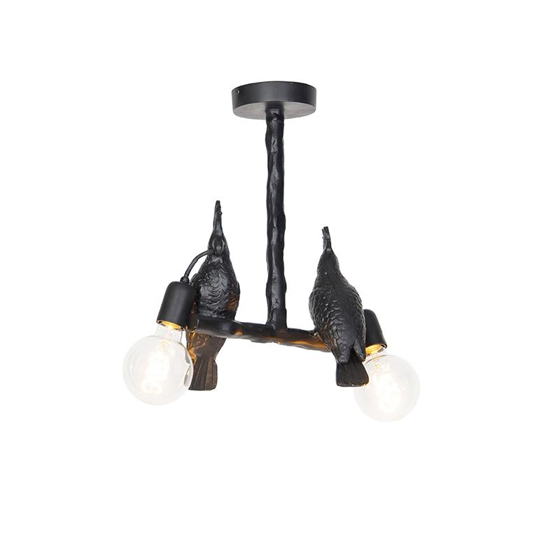 Vintage plafondlamp zwart - Papegoje