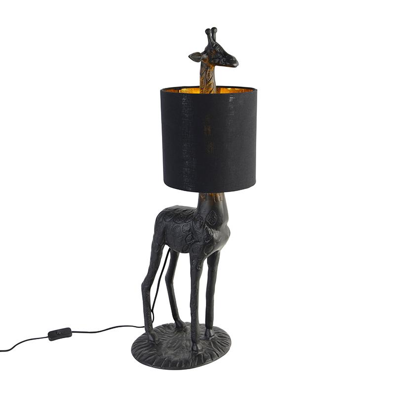 Vintage vloerlamp zwart met stoffen kap zwart - Giraf To