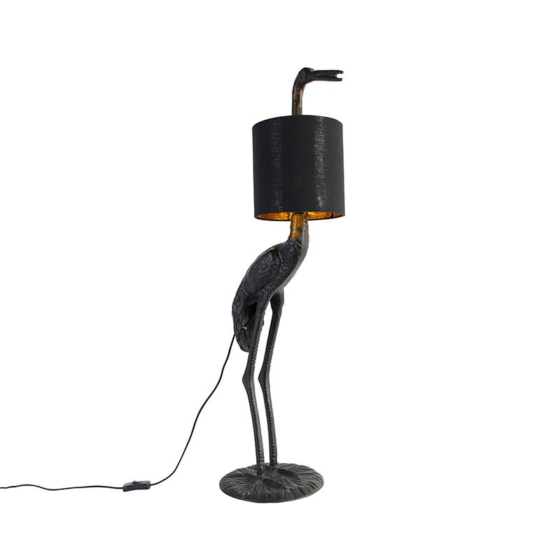 Vintage vloerlamp zwart met stoffen kap zwart - Kraanvogel To