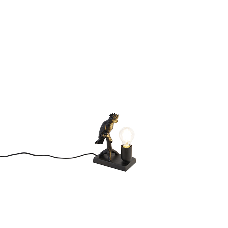 Vintage tafellamp messing met zwart - Papegoje Gren