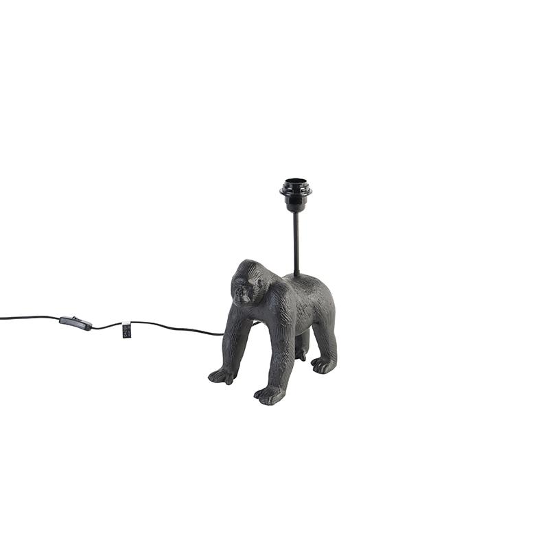 Vintage tafellamp zwart zonder kap - Animal Gorilla