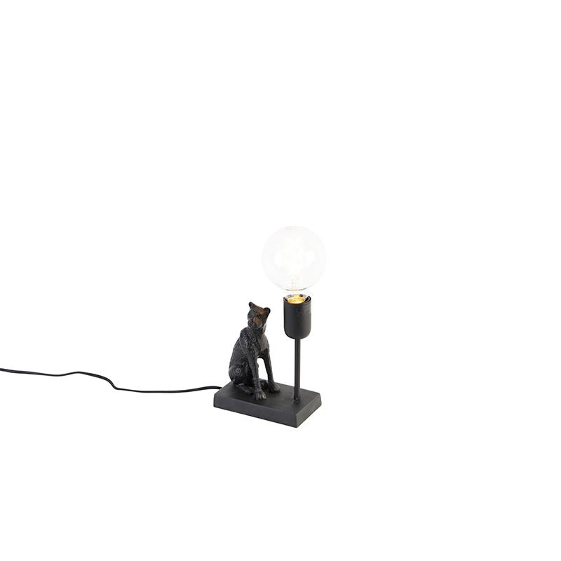 Vintage tafellamp zwart - Leopard