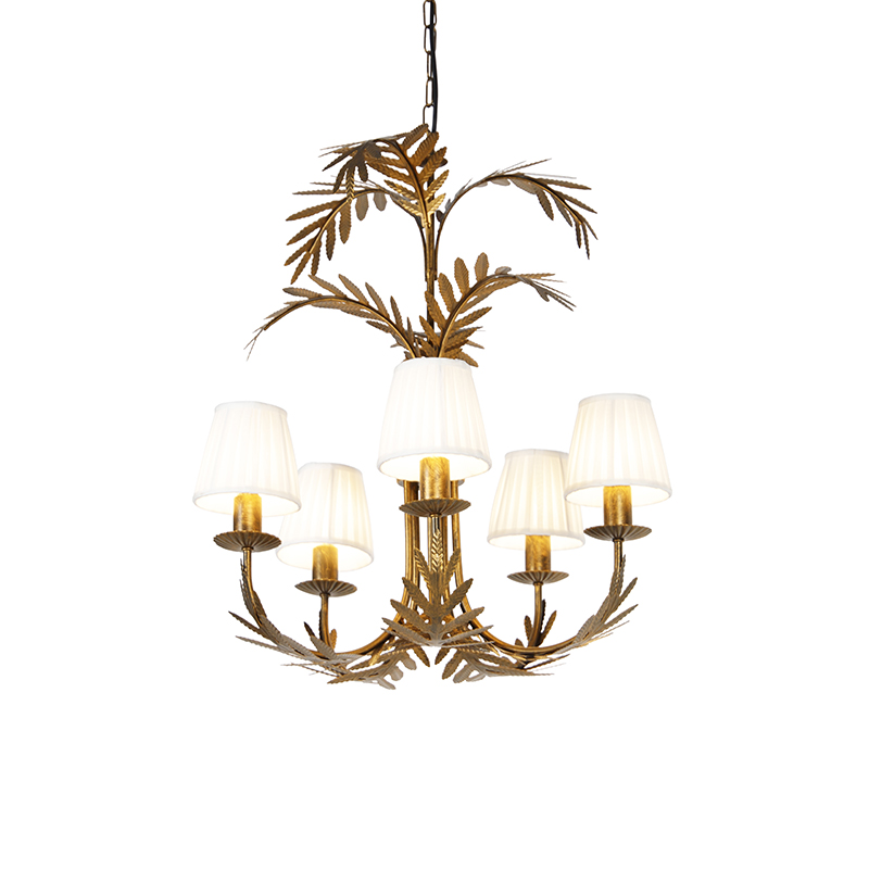Kroonluchter goud met plisse klemkap cr�me 5-lichts - Botanica