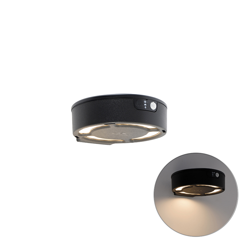 Buiten wandlamp zwart IP55 incl. LED met solar - Fortunato