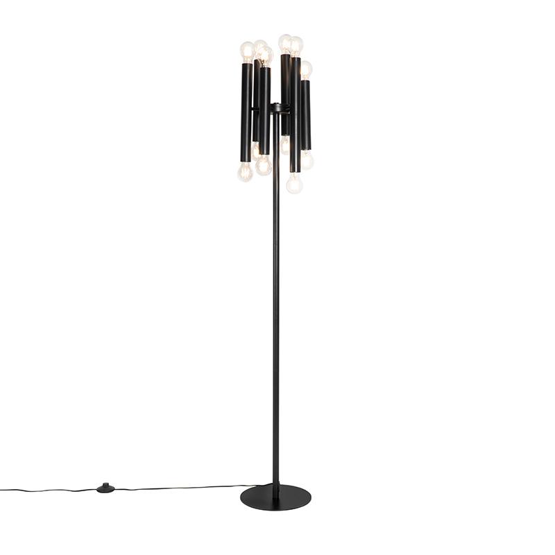 Art Deco vloerlamp zwart 12 lichts Facil