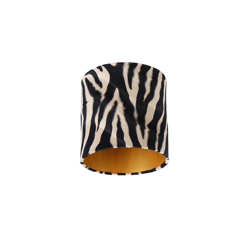 Velours lampenkap zebra dessin 20/20/20 gouden binnenkant