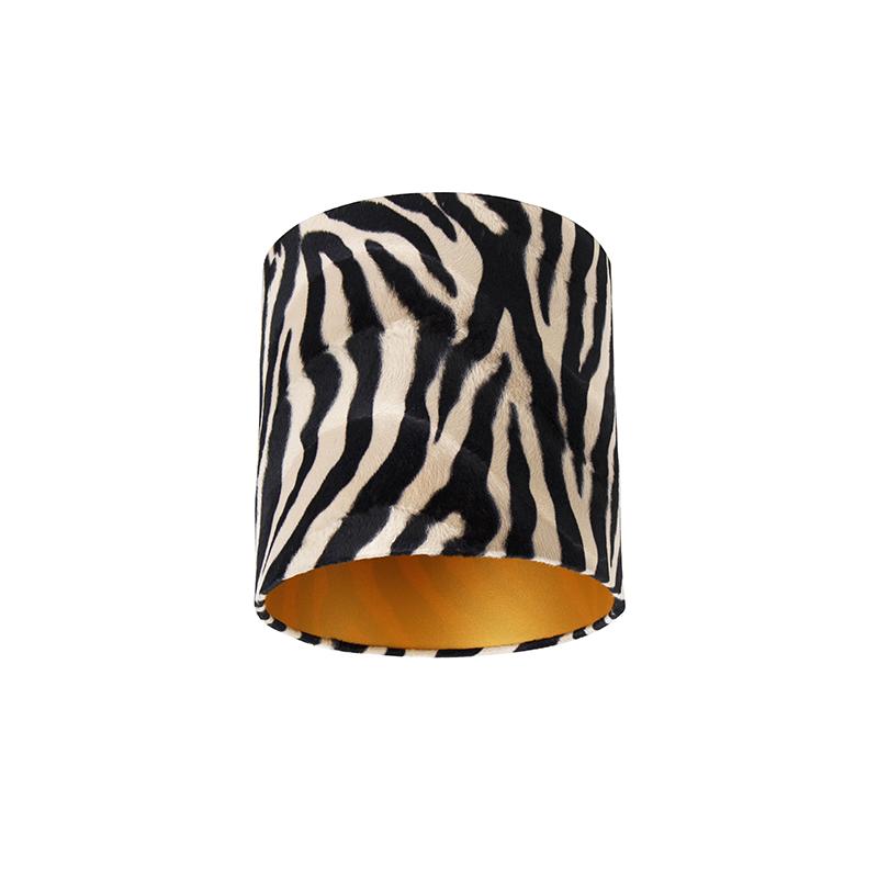 Velours lampenkap zebra dessin 25/25/25 gouden binnenkant