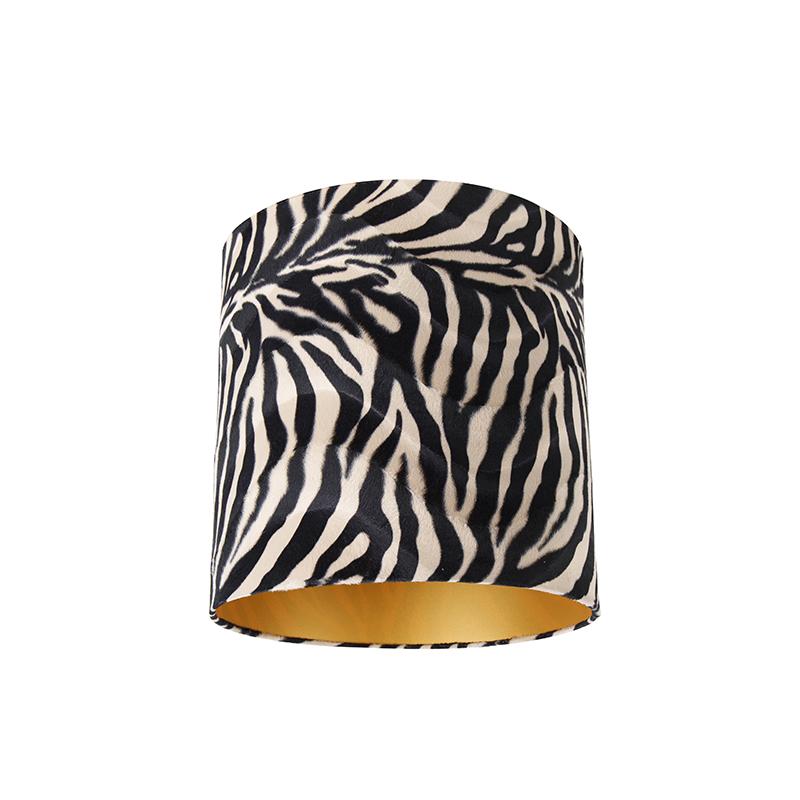 Velours lampenkap zebra dessin 40/40/40 gouden binnenkant