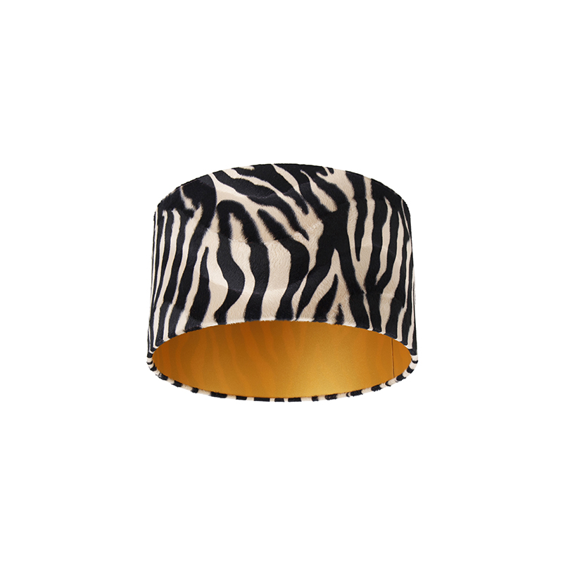 Velours lampenkap zebra dessin 35/35/20 gouden binnenkant