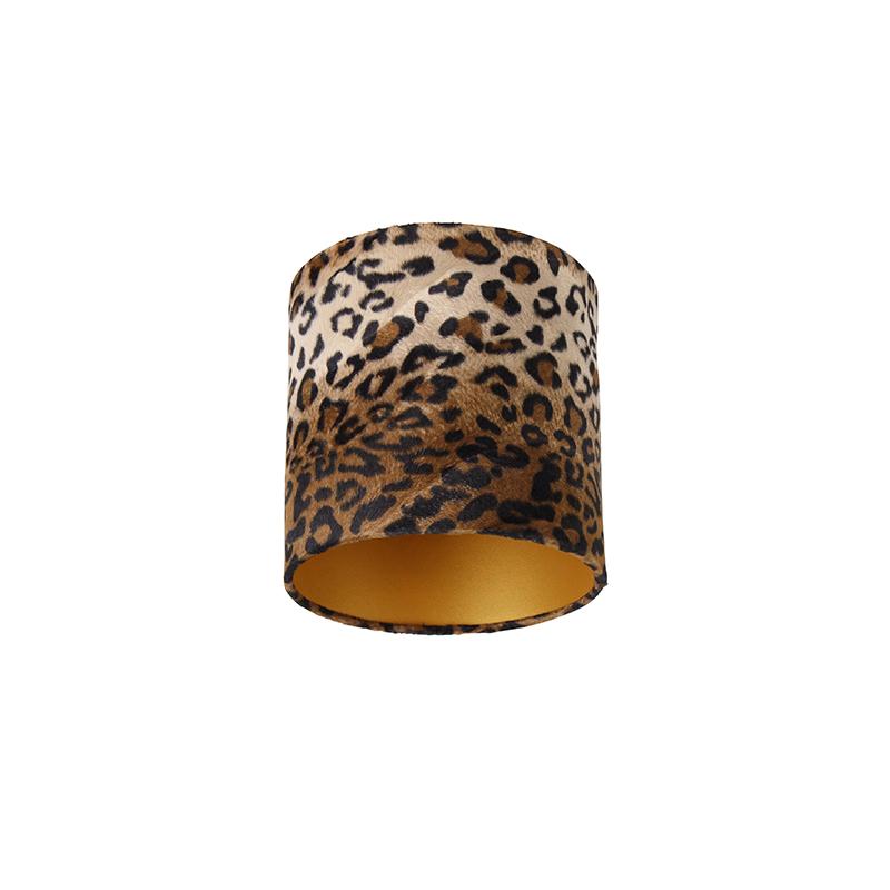 Velours lampenkap luipaard dessin 20/20/20 gouden binnenkant