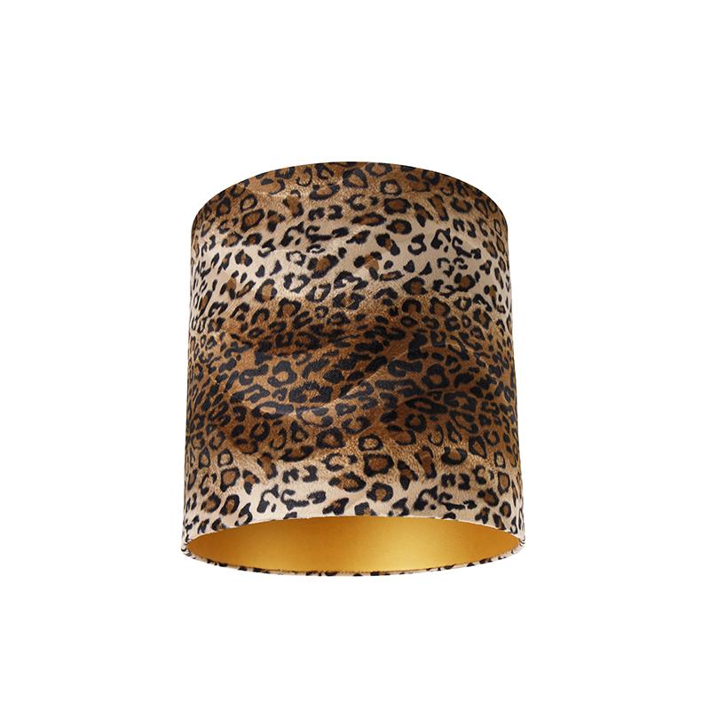 Velours lampenkap luipaard dessin 40/40/40 gouden binnenkant