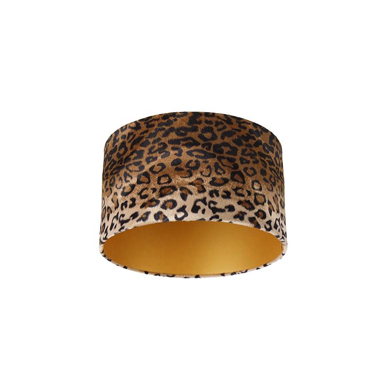 Velours lampenkap luipaard dessin 35/35/20 gouden binnenkant