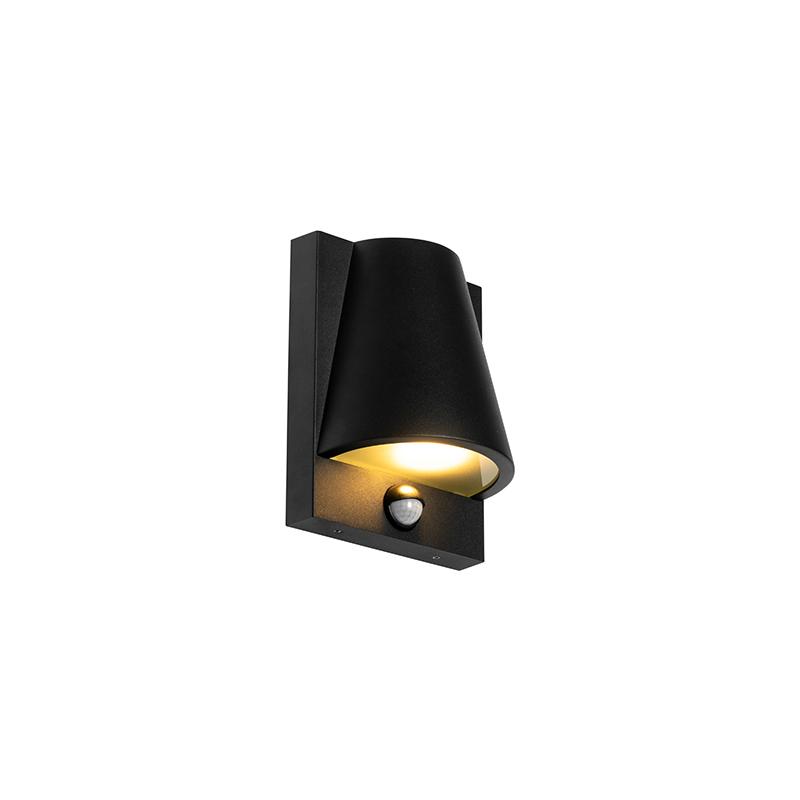Buiten wandlamp zwart IP44 met bewegingsmelder - Femke