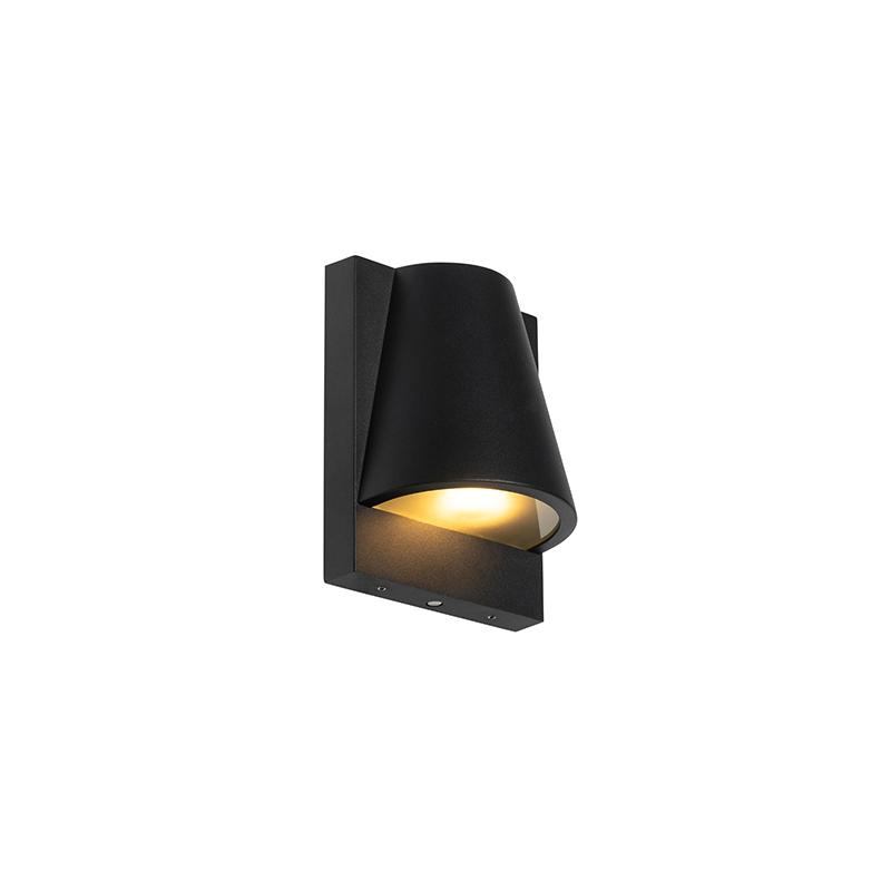 Buiten wandlamp zwart IP44 met schemerschakelaar - Femke