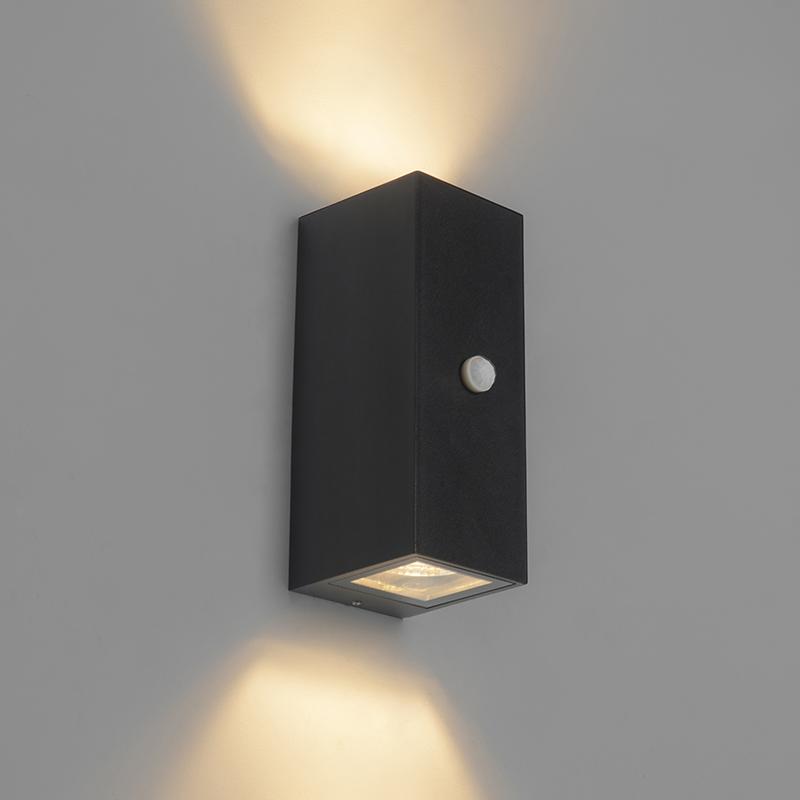 Wandlamp zwart GU10 AR70 IP44 met bewegingssensor - Baleno II