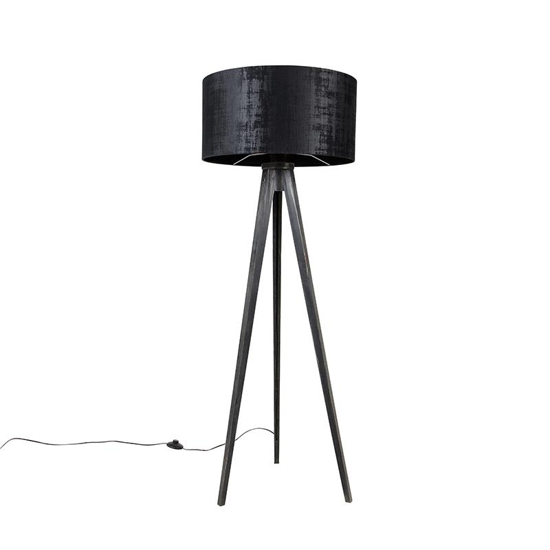 Vloerlamp tripod zwart met kap zwart 50 cm - Tripod Classic