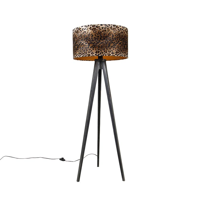 Vloerlamp tripod zwart met kap luipaard 50 cm - Tripod Classic