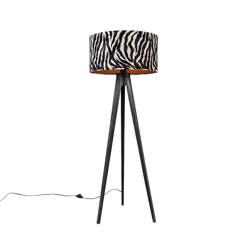 Vloerlamp tripod zwart met kap zebra 50 cm - Tripod Classic