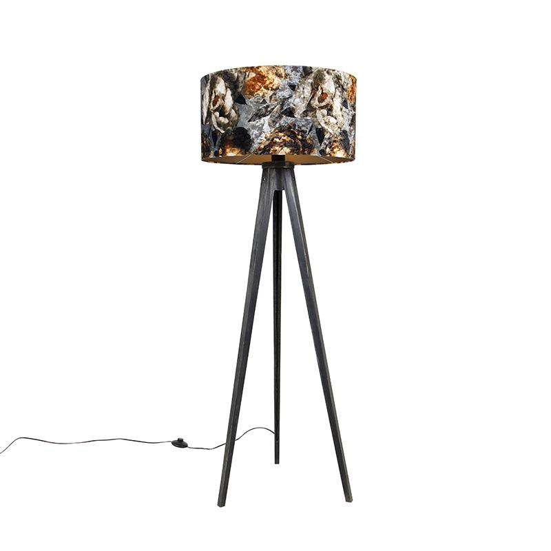 Vloerlamp tripod zwart met kap bloemen 50 cm - Tripod Classic