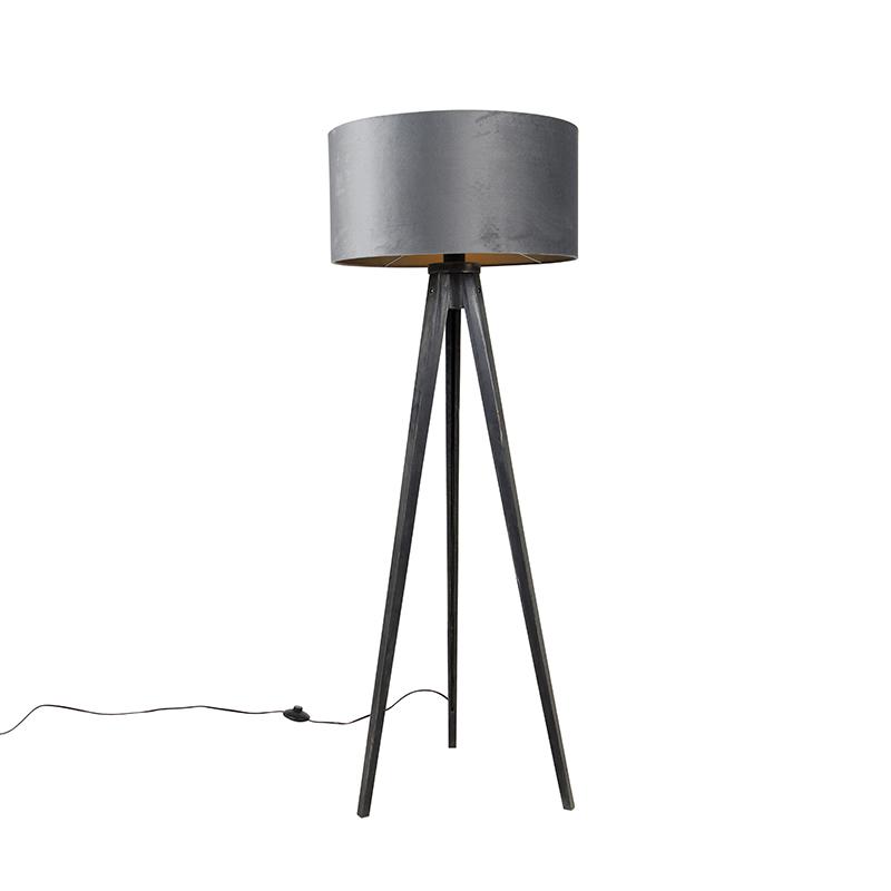 Vloerlamp tripod zwart met kap grijs 50 cm - Tripod Classic
