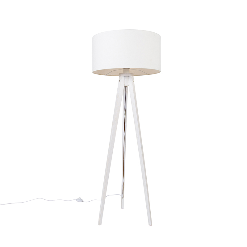 Vloerlamp tripod wit met kap wit 50 cm - Tripod Classic