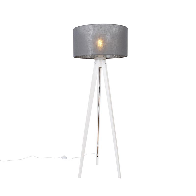Vloerlamp tripod wit met kap donkergrijs 50 cm - Tripod Classic