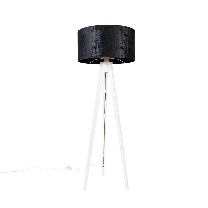 Vloerlamp tripod wit met kap zwart 50 cm - Tripod Classic