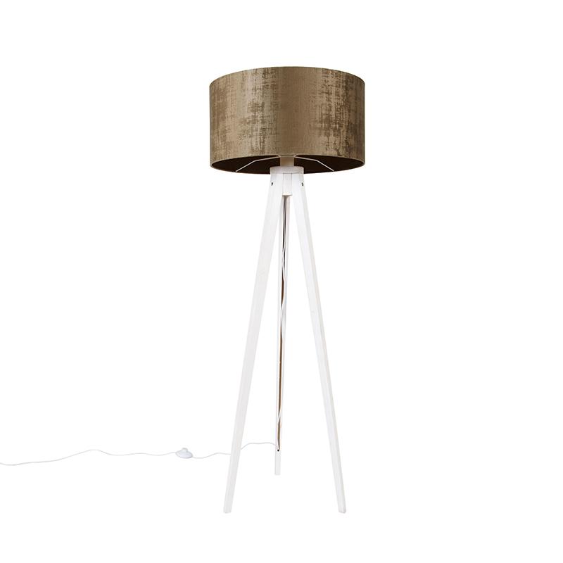 Vloerlamp tripod wit met kap bruin 50 cm - Tripod Classic