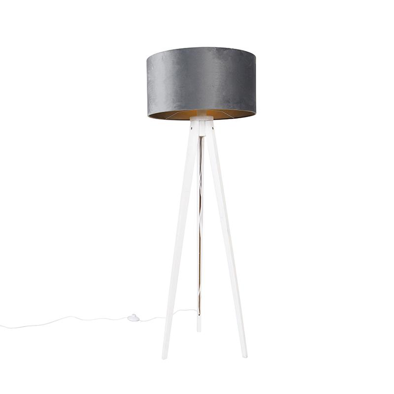 Vloerlamp tripod wit met kap grijs 50 cm - Tripod Classic