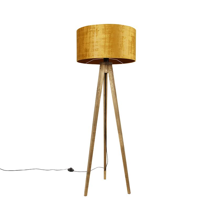Tripod vintage hout met kap goud 50 cm - Tripod Classic