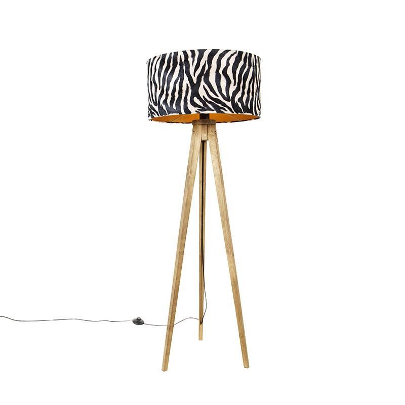 Tripod vintage hout met kap zebra 50 cm - Tripod Classic