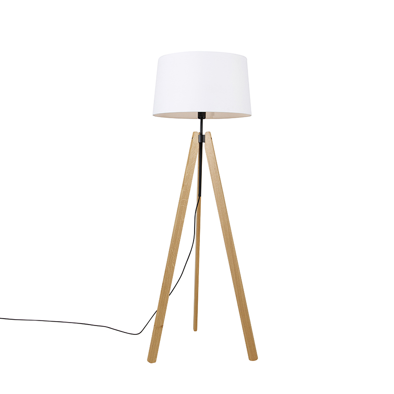Vloerlamp tripod hout met linnen kap wit 45 cm - telu