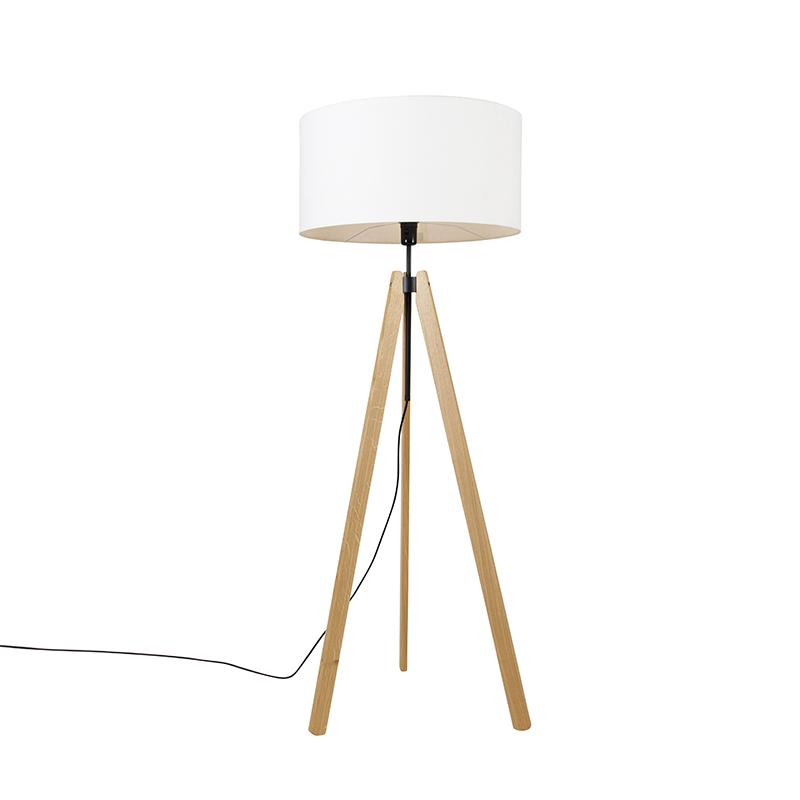 Landelijke vloerlamp tripod hout met kap wit 50 cm - Telu