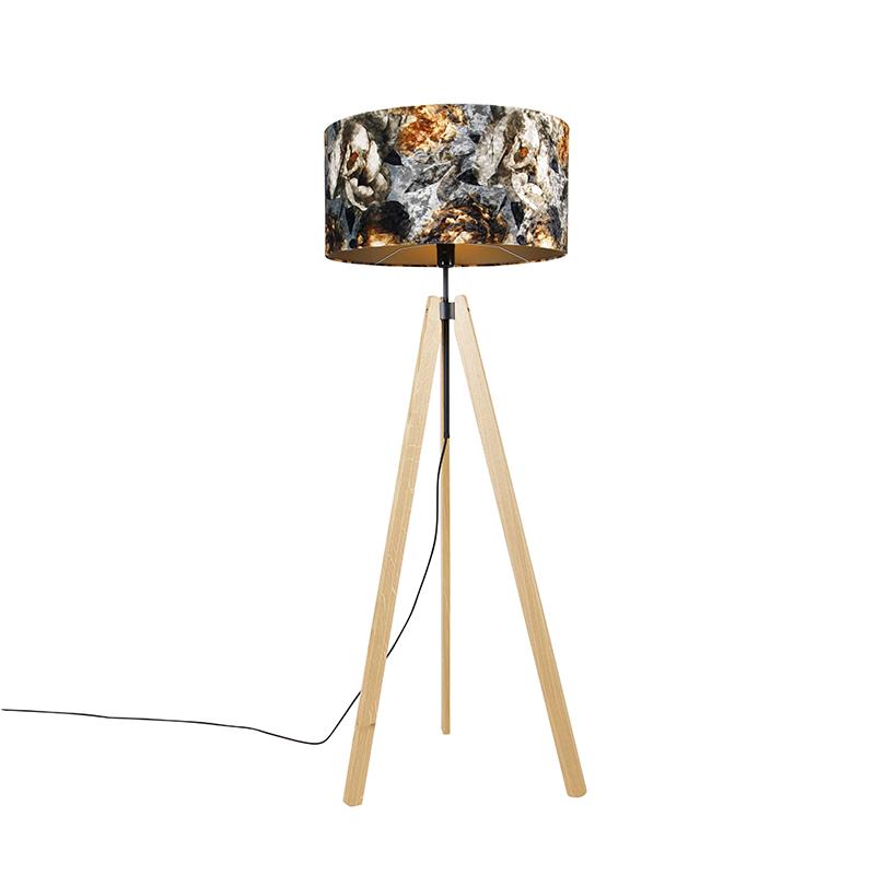 Landelijke vloerlamp tripod hout met kap bloemen 50 cm - Telu