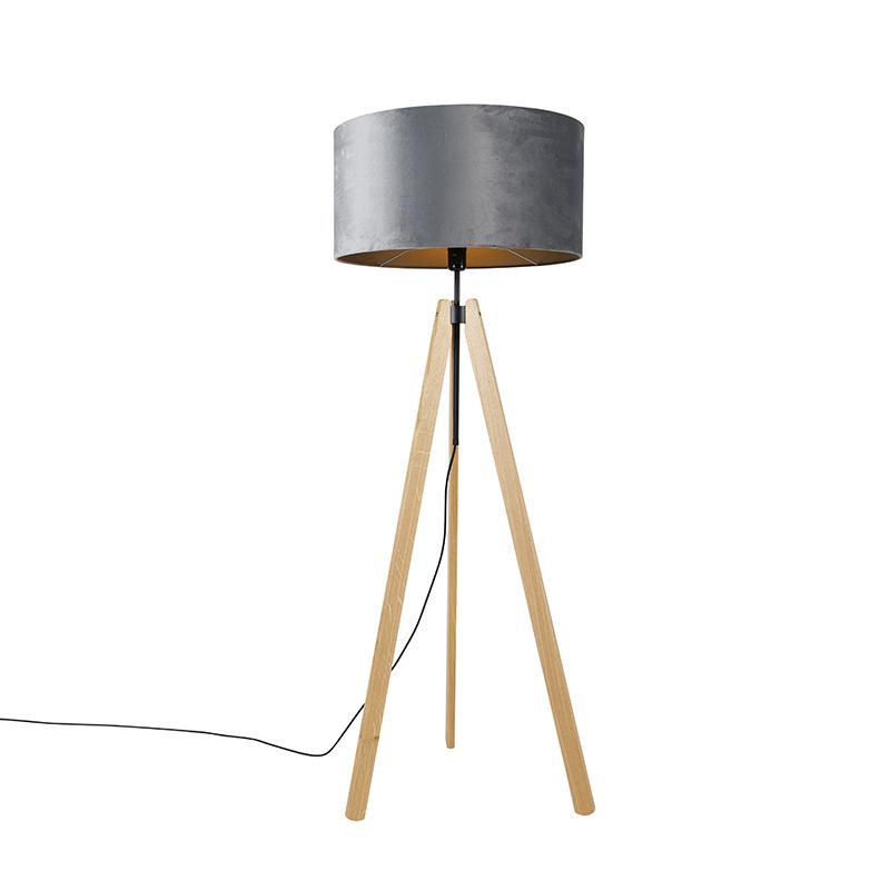 Landelijke vloerlamp tripod hout met kap grijs 50 cm - Telu