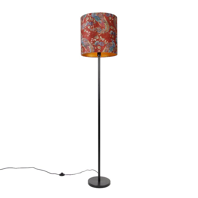 Vloerlamp zwart kap pauw dessin rood 40 cm - Simplo
