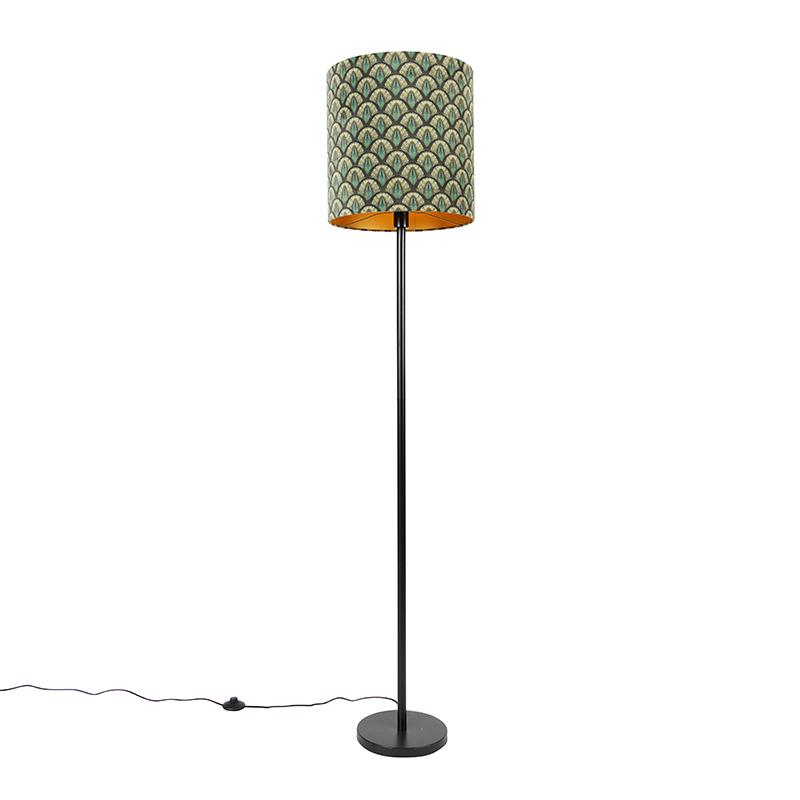 Vloerlamp zwart kap pauw dessin gouden binnenkant 40 cm - Simplo