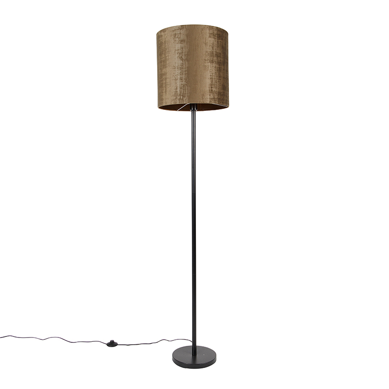 Klassieke vloerlamp zwart kap bruin 40 cm - Simplo