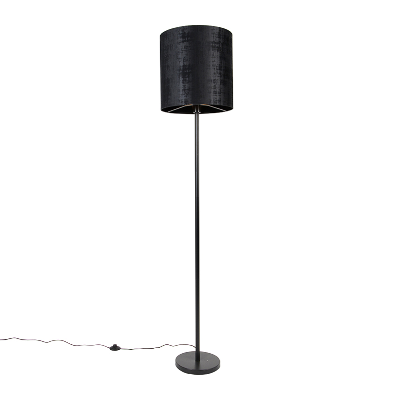 Moderne vloerlamp zwart kap zwart 40 cm - Simplo