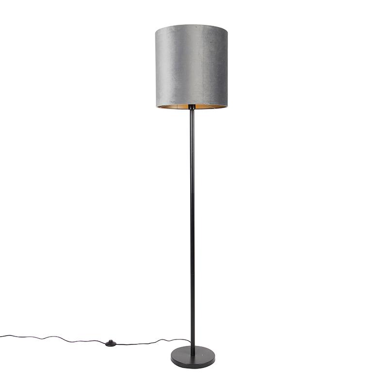 Moderne vloerlamp zwart kap grijs 40 cm - Simplo