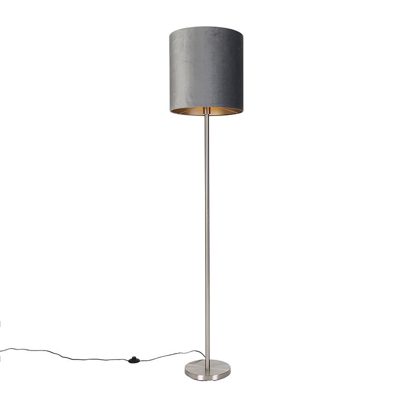 Moderne vloerlamp staal met kap grijs 40 cm - Simplo